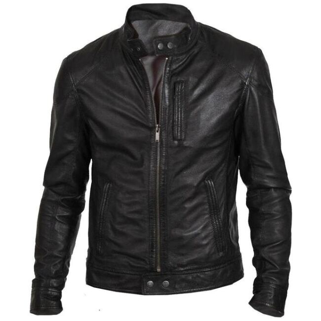 Black Mens Bomber Leather Jacket